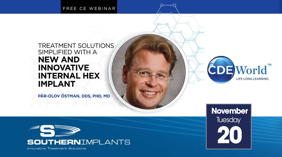 November 20, 2018 – Treatment Solutions Simplified with a New and Innovative Internal Hex Implant